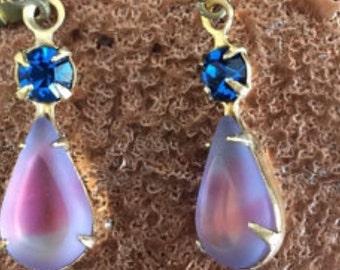 Blue earrings, sapphire earrings, pink earrings, vintage earrings, drop earrings, purple earrings, girve earrings