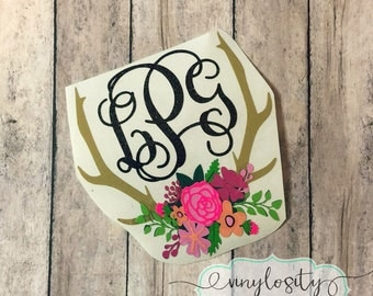 The Original Floral Antler Decal | Antler Monogram Car Decal | Antler Yeti Decal | Car Decal | Yeti Decal | Vinyl Decal | Floral Decal