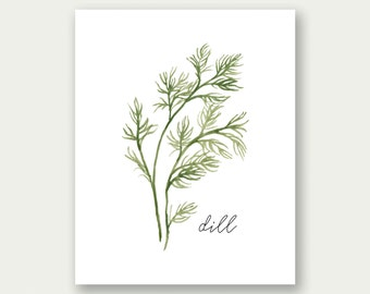 SALE Herbs Printable, Dill Printable, Herbs Wall Art, Herbs Print, Dill Art, Dill Print, Watercolor Herb Art, Kitchen Decor, Kitchen Print