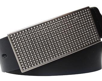 Black leather belt with 3D-Schließe
