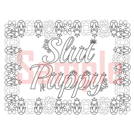 Sweary Coloring Page Slut Puppy 2 Swearing Coloring By
