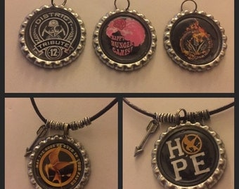 Hunger Games Inspired Mockingjay District Bottle Cap Necklace
