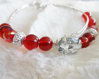 Ruby Red Rhinestone Bracelet