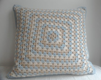 Blue  Beige and Cream Granny Square Crocheted Cushion