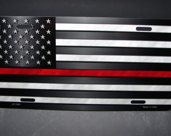 THIN RED LINE Firefighter Metal License Plate For Cars  With American Flag...