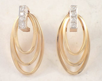 14K Yellow Gold and White Gold Diamond Hoop Earrings