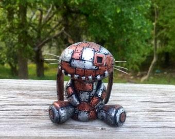 Steampunk Figurine Scrap Metal Robot Rabbit Polymer clay