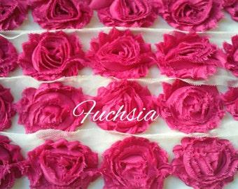"""Solid Fuchsia 2.5"""" Shabby Flower Rose Trim U Pick By the Yard DIY"""