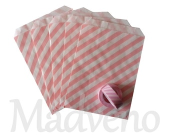 Lot of 10 striped paper bags pink