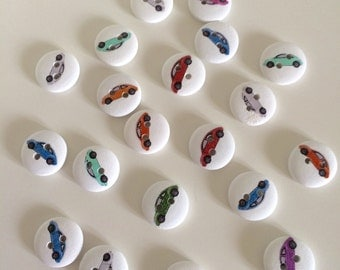 20 Car Buttons ~ Transport Buttons ~ Wooden Buttons ~ Car Embellishments ~ Card Making ~ Scrapbooking ~ Sewing