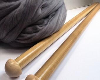 Giant Knitting Needles. EXTREME Knitting Needles. US Size 70 Knitting needles. For Super Chunky Yarn. Wooden Knitting Needles