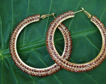 Brown Accent Rhinestone Hoops