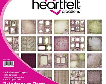 Heartfelt Creations Raindrops on Roses Collection Paper Pad - Raindrops Roses paper - 12x12 - Card stock paper - Purple Pink Paper Cardstock