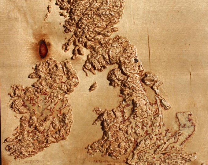 "3D wooden map of British Isles  18"" x 16"""