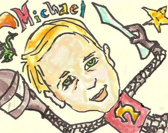 Caricatures for baseball players, mermaids, football players, dragon slayers, cheerleaders, tightrope walkers, magicians, etc.