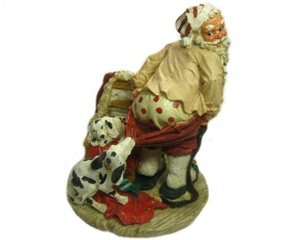 Santa Figurine with Dalmatians, Christmas Decoration, Santa Claus Holiday Decor