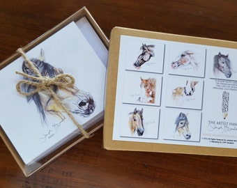 14 Horse Note Cards with Seven (two of each) Original Equestrian Drawings - Blank Inside
