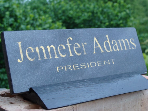 Desk Name Plate Black Marble Name Plate Personalized Custom