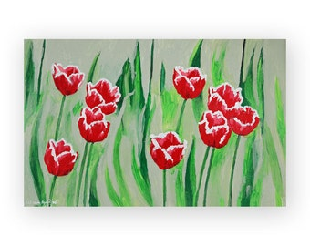 Floral Painting Print Wall Art of Acrylic Landscape Painting on Canvas - Red Tulip Flower Art Print, Kitchen Room Decor