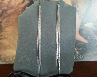 Vintage Disco Silver Chain Earrings