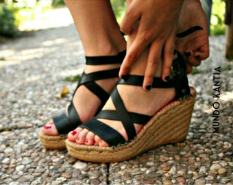 Wedge cross straps.Esparto wedge.Leather natural espadrille. High wedge heel espadrilles.