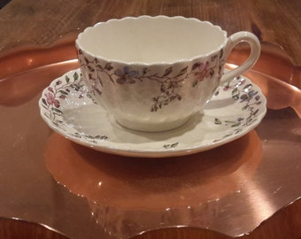 Footed Cup and Saucer Set in Wickerdale by Spode