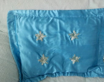Cyan satin pillow sham