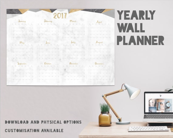 Yearly Wall Calendar 2017 Planner Marble Geo 12 By