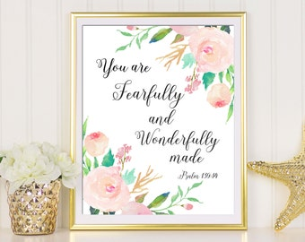 Psalm 139:14, You Are Fearfully And Wonderfully Made, Scripture Print, Baby Shower Gift, Bible Verse Print, Baby Girl Nursery, Girl Room Art