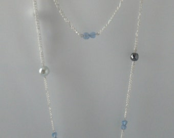 Necklace chain metal silver with clear blue beads, anthracite and blue sky heart