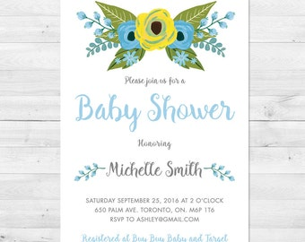 Baby Shower Invitation Boy, Floral Baby Shower Invitation, Blue Baby Shower Invitation, Watercolor Invitation, Blue, Yellow, Grey