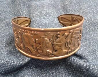 Egyptian Revival Copper Cuff