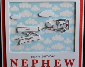 Handmade - Named Birthday Card - Airplane - Clouds - (HBCHB32)
