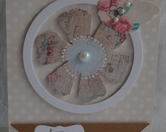 Handmade - Vintage style Birthday Card - Butterfly - Flower - (HBCHB28)