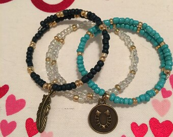 Lucky memory wire bracelet trio