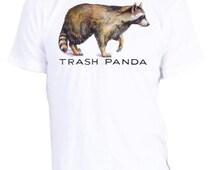 Trash Panda Shirt, Men's Organic Raccoon Tshirt, funny wildlife, great vintage animal tee, t-shirt, tee, custom size, acmekidco, sz xs to xl