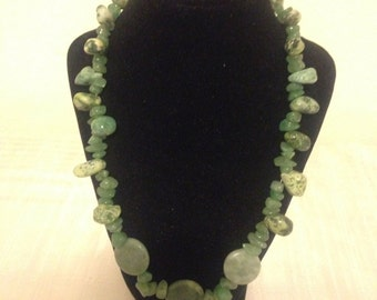 Green Nugget and Chip Necklace