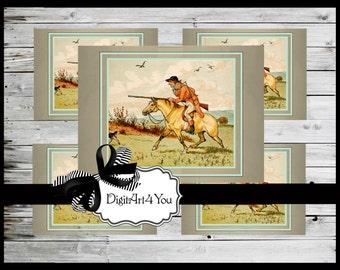 Cards/Greeting Cards/Hunting/Horse/Fairy Tales/Children/Nursery Rhymes/Cards/DIY Printable Card/Instant/Blank Card/Vintage/Retro/Vintage Art