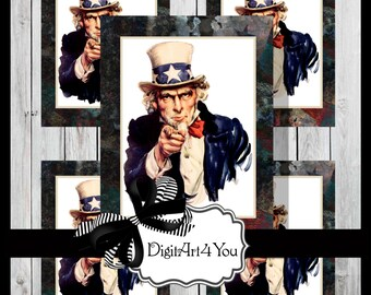 Digital collage/Clip Art/Uncle Sam/Patriotic/America/American/Flag/Vintage/Supplies/Inchies/Dominoes/1 x 1/1 x 2/Retro/Collage/Scrapbooking