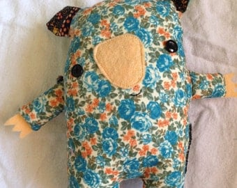 Blue floral handmade wombat softie