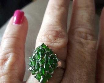 Peridot Cluster  Ring- size 8!