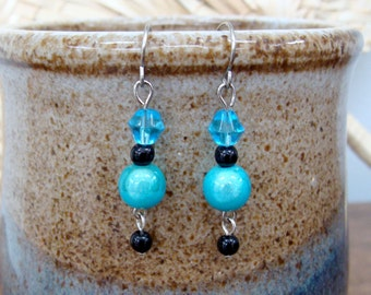 Dangle Earrings: Blue, Aqua, Black, and Silver