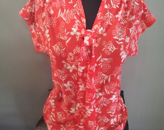Vintage Red & White Graphic Floral Print Blouse