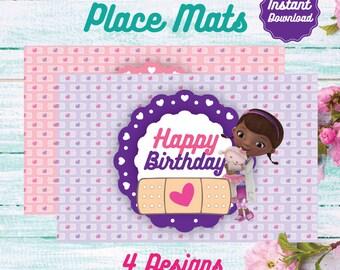 Doc McStuffins Place Mats, Printable placemats, Disney Doc Mcstuffins Birthday decoration, instant download, DIY