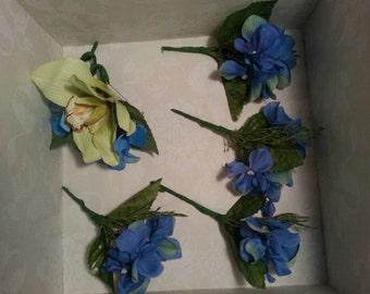 Wedding Bouquets Blue and Lime with Groom's and Groomsmen, Maid of Honor and Bridesmaid Bouquets