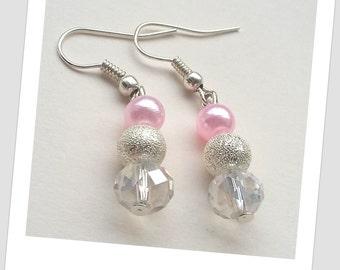 Pink and silver drop earrings, Bridesmaids earrings