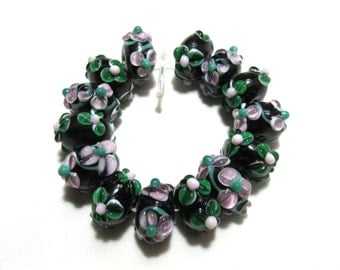 1 Strand Handmade Flower/Swirl Lampwork Beads in Black/Red/White (B57-3)