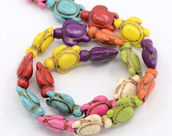 Natural Howlite Bead Strand Sea Turtles Mixed Colors (B/82107a)