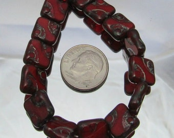1 Strand Carved Czech Glass Beads 10mm Squares (B27d)