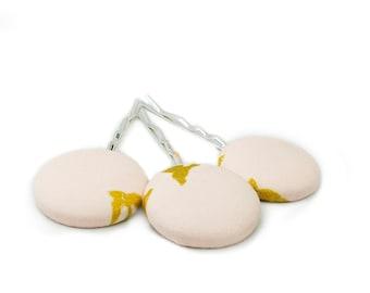 3 Fabric Buttons, Bobby Pins, Minimal, Medium, Pink, Gold, Silver
